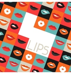 Female lips background Mouths with red lipstick vector image