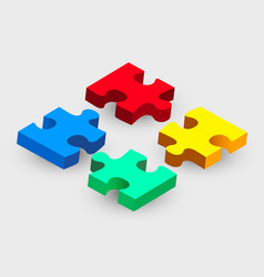 four piece puzzle solution concept modern design vector image