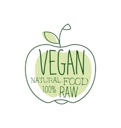 Fresh Vegan Food Promotional Sign With Apple vector image