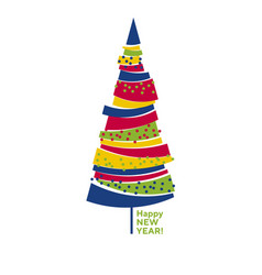 funny colorful abstract isolated christmas tree vector image