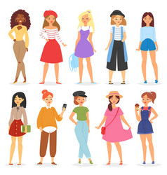 Girl young female teenager character and vector