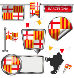 Glossy icons with flag of barcelona vector