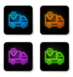 Glowing neon delivery tracking icon isolated vector