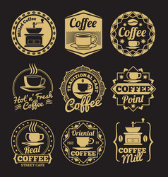 Gold coffee shop labels on black backdrop vector