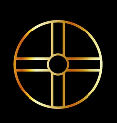 Golden southern cult solar cross symbol vector