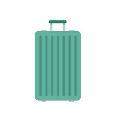 Green travel bag icon flat style vector