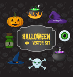 halloween traditional elements set vector image