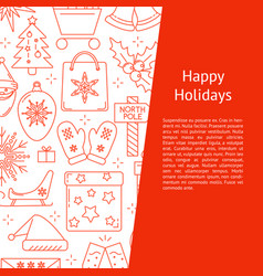 Happy holidays banner template in line style vector