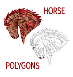 Horse red head polygons coloured and outline vector