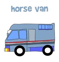 Horse van with hand draw vector