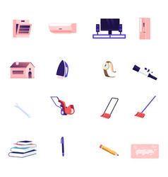 icons set oven conditioner and tv with vector image
