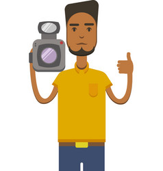 image of africo american man with video vector image