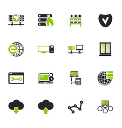 Internet server network icons set vector