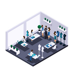 Isometric tailor room atelier process sewing wo vector