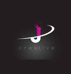 J creative letters design with white pink colors vector