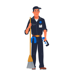 Janitor - male janitor in black uniform holding vector