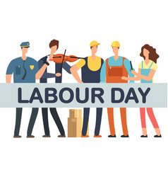 labour day banner with cartoon professionals vector image
