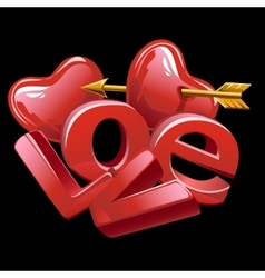 large letters love red heart and golden arrow vector image