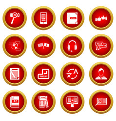 Learning foreign languages icon red circle set vector
