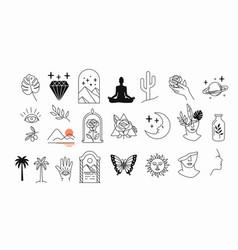 line mystic set simple hand drawn logo icons vector image