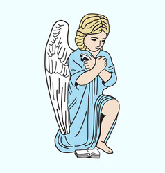 Little angel is praying icon vector