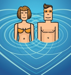 Man and woman in water vector image