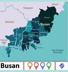 Map busan south korea vector