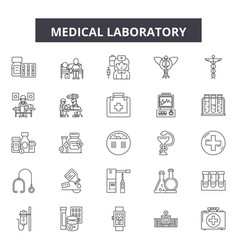 medical laboratory line icons signs set vector image