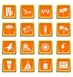 Miami icons set orange vector