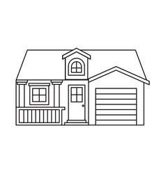 monochrome silhouette facade house with garage and vector image