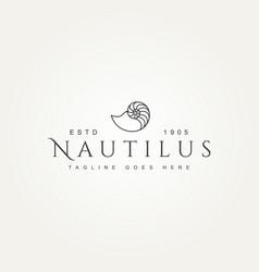 Nautilus minimalist line art badge logo design vector