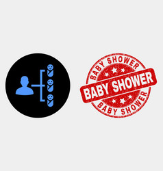 Newborn parent links icon and grunge baby vector