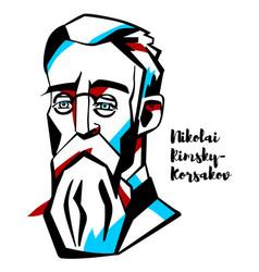 nikolai rimsky-korsakov portrait vector image