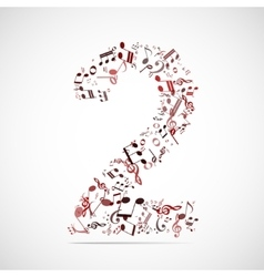 Number two made from music notes vector