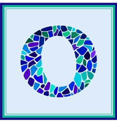 O - letter - Green Watercolor mosaic vector image