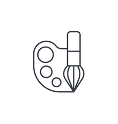 Palette and brush thin line icon linear vector