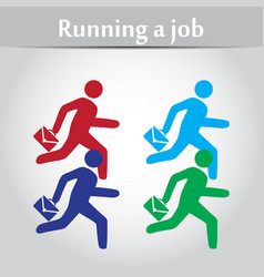 person flat with a suitcase running on work vector image