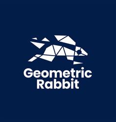 rabbit hare bunny geometric polygonal logo icon vector image
