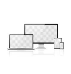 realistic computer laptop smartphone mockup vector image