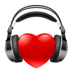red heart with headphones music concept on white vector image vector image