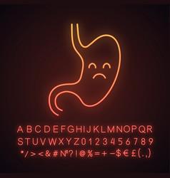 Sad stomach neon light icon vector