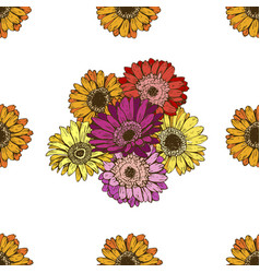 Seamless pattern with daisies flower on white vector
