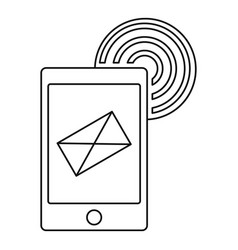 Send an email by phone icon outline style vector