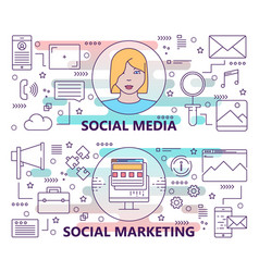 set banners with social media and social vector image