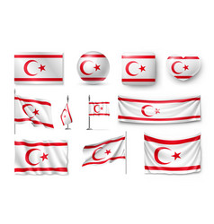 Set northern cyprus flags banners banners vector