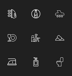 Set of 9 editable cleaning outline icons includes vector