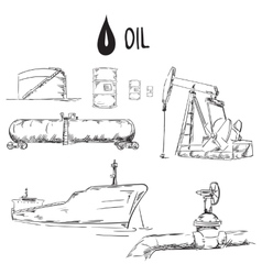 Set of oil industry objects vector image vector image