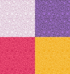 Set seamless patterns in trendy linear style vector