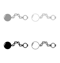 Shackles with ball icon set grey black color vector
