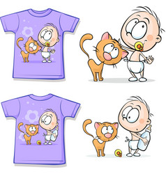 Shirt with Cute Baby and cat vector